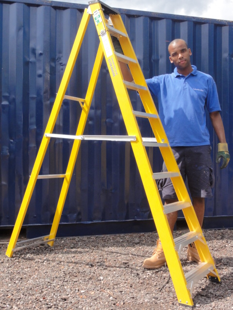 GRP STEP LADDER HIRE 10 TREAD FIBREGLASS